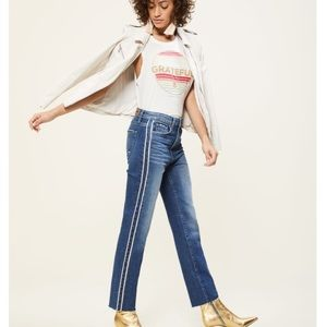 Hoxton Piping Stripe Straight Cropped Jeans